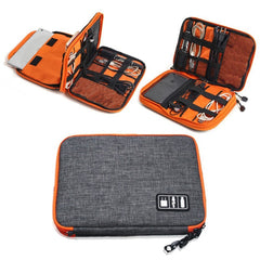 High Grade Nylon 2 Layers Travel Electronic Accessories Organizer Bag,Travel Gadget Carry Bag, Perfect Size Fit for iPad - gadgetslines