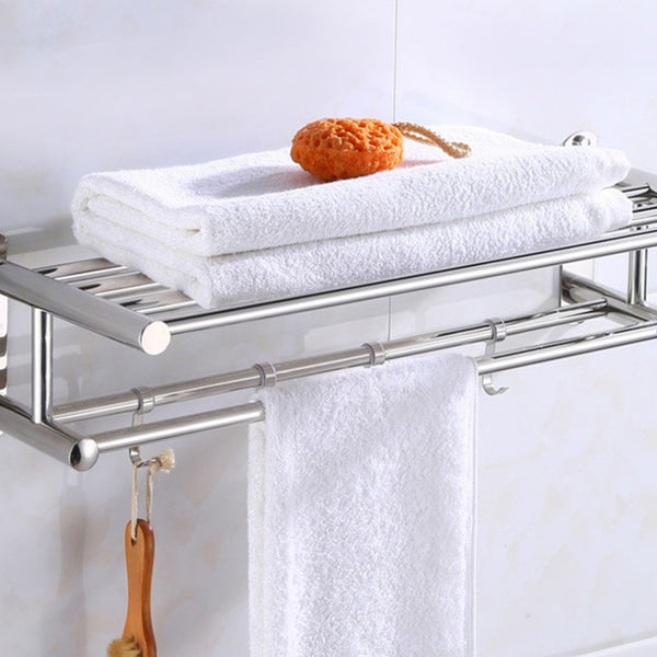 Bathroom Towel Holder Bathroom Organizer Stainless Steel Wall-mounted Towel Rack Home Hotel Wall Shelf Hardware Accessory - gadgetslines