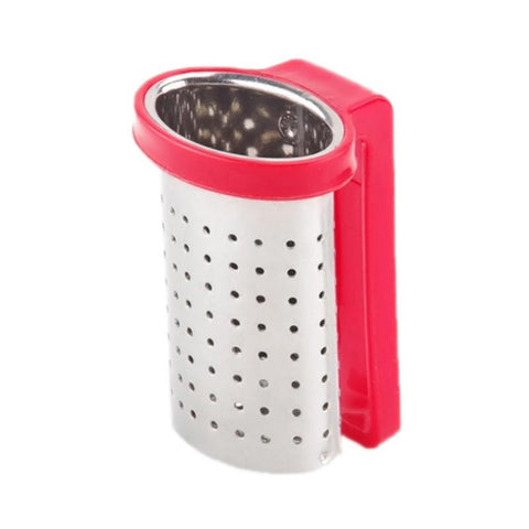 1 PC Kitchen Supplies Tea Strainer Stainless Steel Candy Color Tea Infuser Tea Bag Reusable Teapot Accessory - gadgetslines