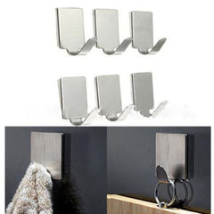 6Pc/Lot Stainless Steel Family Robe Hanging Hooks Hats Bag Key Adhesive Wall Hanger for Bathroom Kitchen - gadgetslines