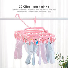 32 Clips Folding Socks Clothes Hanger Rack Clothespin Clothes Drying Rack Closet Wardrobe Organizer Blue/Green/Pink - gadgetslines