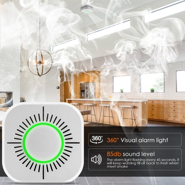 433MHz Wireless Smoke Detector Fire Security Alarm Protection Smart Sensor for Smart Home Automation Works with RF Bridge - gadgetslines