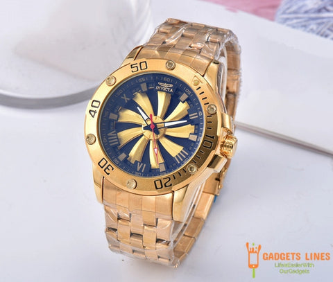 Hot Selling INVICTA Sports Casual Calendar Men's Quartz Watch Royal Oak Dial Rotatable Steel Belt Folding Buckle