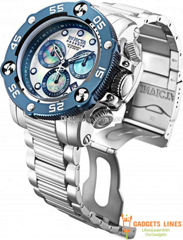 TOP Quality Invicta Model:28548 Reserve Sea Hunter Propeller Swiss Mvt 52mm Steel Platinum MOP Watch New