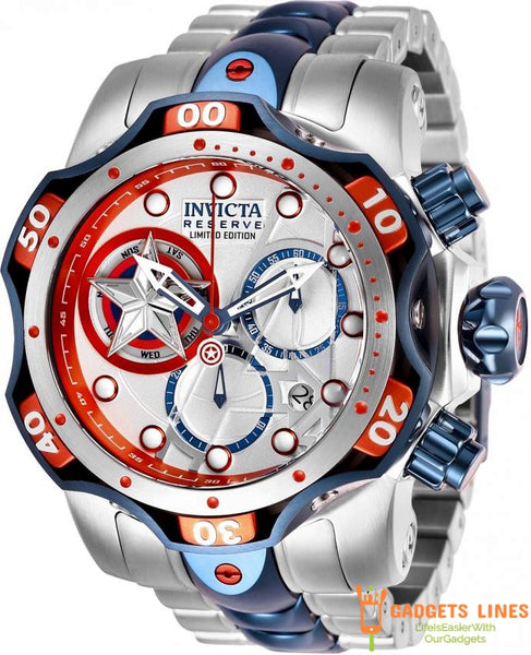 Invicta Model 27039 52.5mm Stainless Steel Reserve Limited Edition Captian America Venom Marvel Captain America Men Quartz Watch