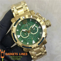 Invicta Men's Watch Model NO.29832 - 52mm Japan Quartz Bolt Men Stainless Steel Green Face Wristwatch