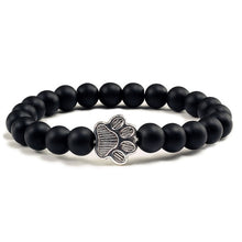 Load image into Gallery viewer, Natural Black Lava Paw Bracelet