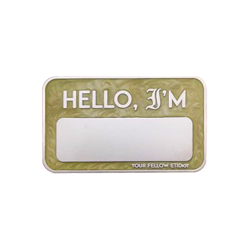 ETIDIOT Name Badge, Gold Pearl