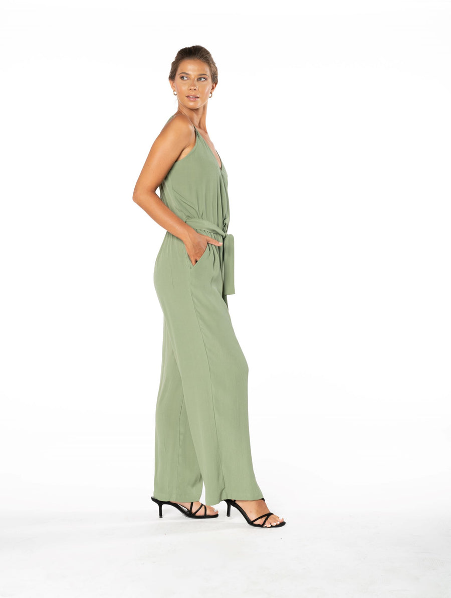Young and Beautiful Jumpsuit - Sage Craft Green