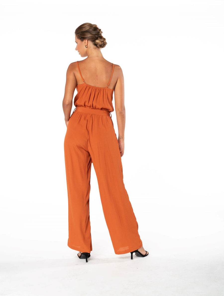 Young and Beautiful Jumpsuit - Burnt Orange