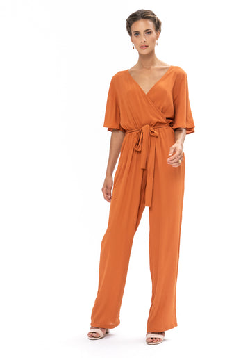 Leave Me Lonely Jumpsuit - Burnt Orange