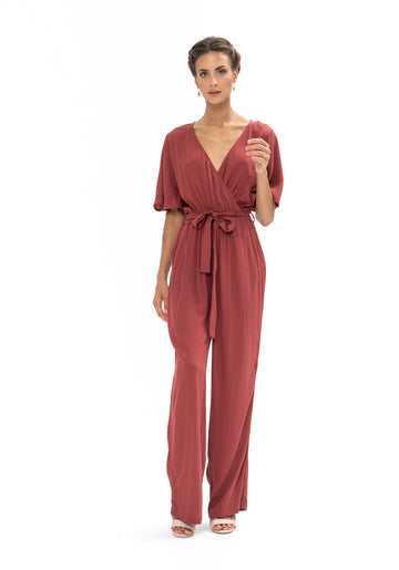 Leave Me Lonely Jumpsuit - Dusky Plum