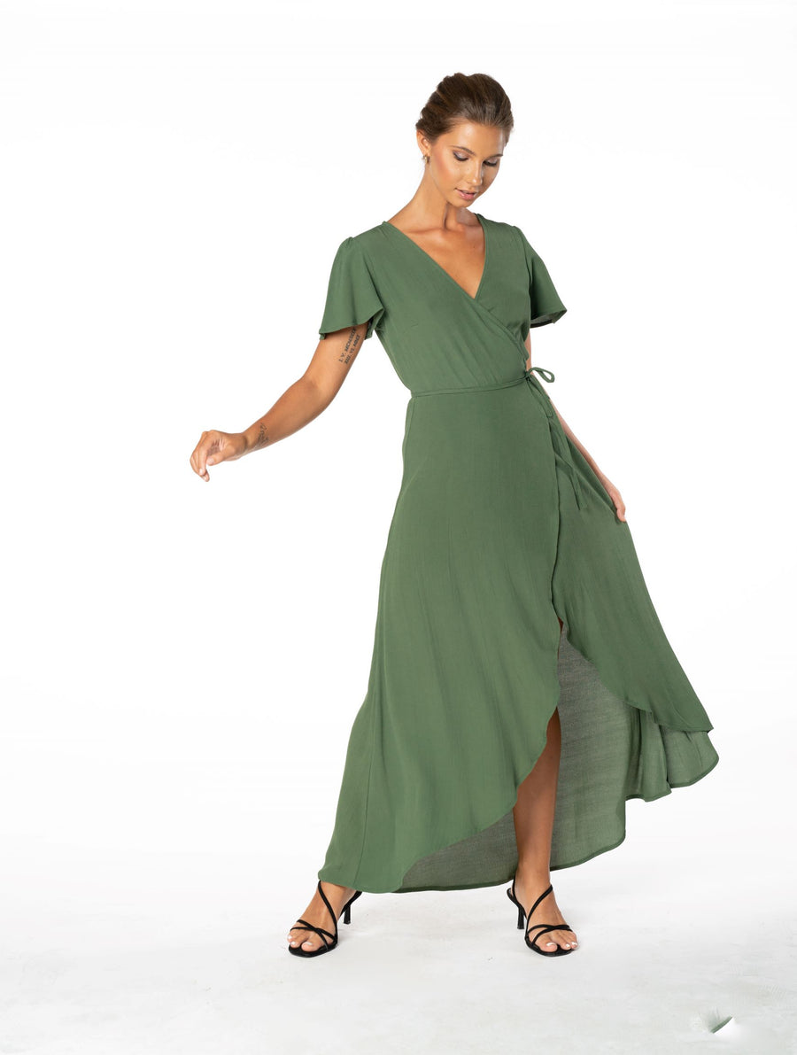 Sunset Wrap Dress - Olive Green