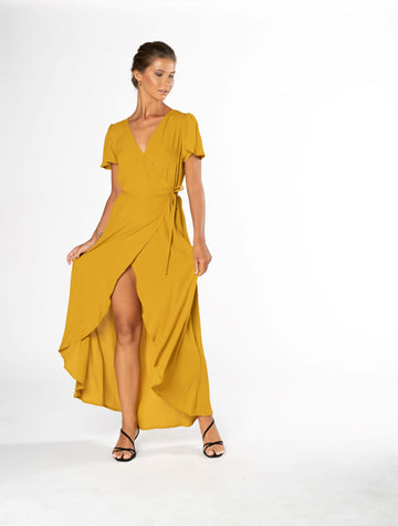 Sunset Wrap Dress - Gold