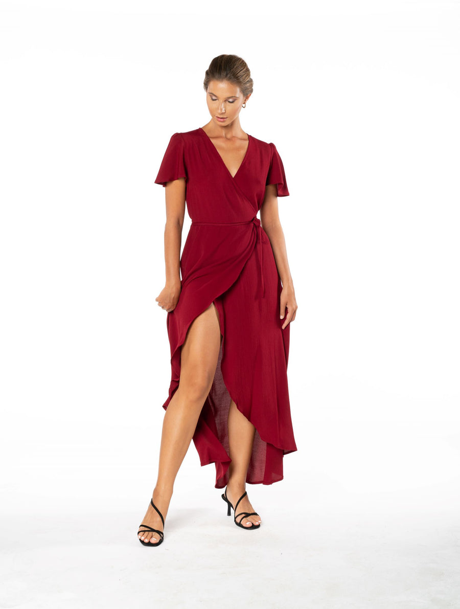 Sunset Wrap Dress - Dark Rust
