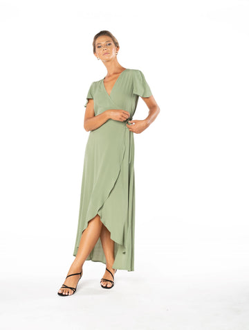 Sunset Wrap Dress - Sage Craft Green