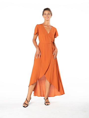 Sunset Wrap Dress - Burnt Orange