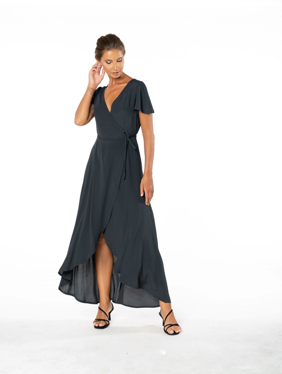 Sunset Wrap Dress - Canyon Black