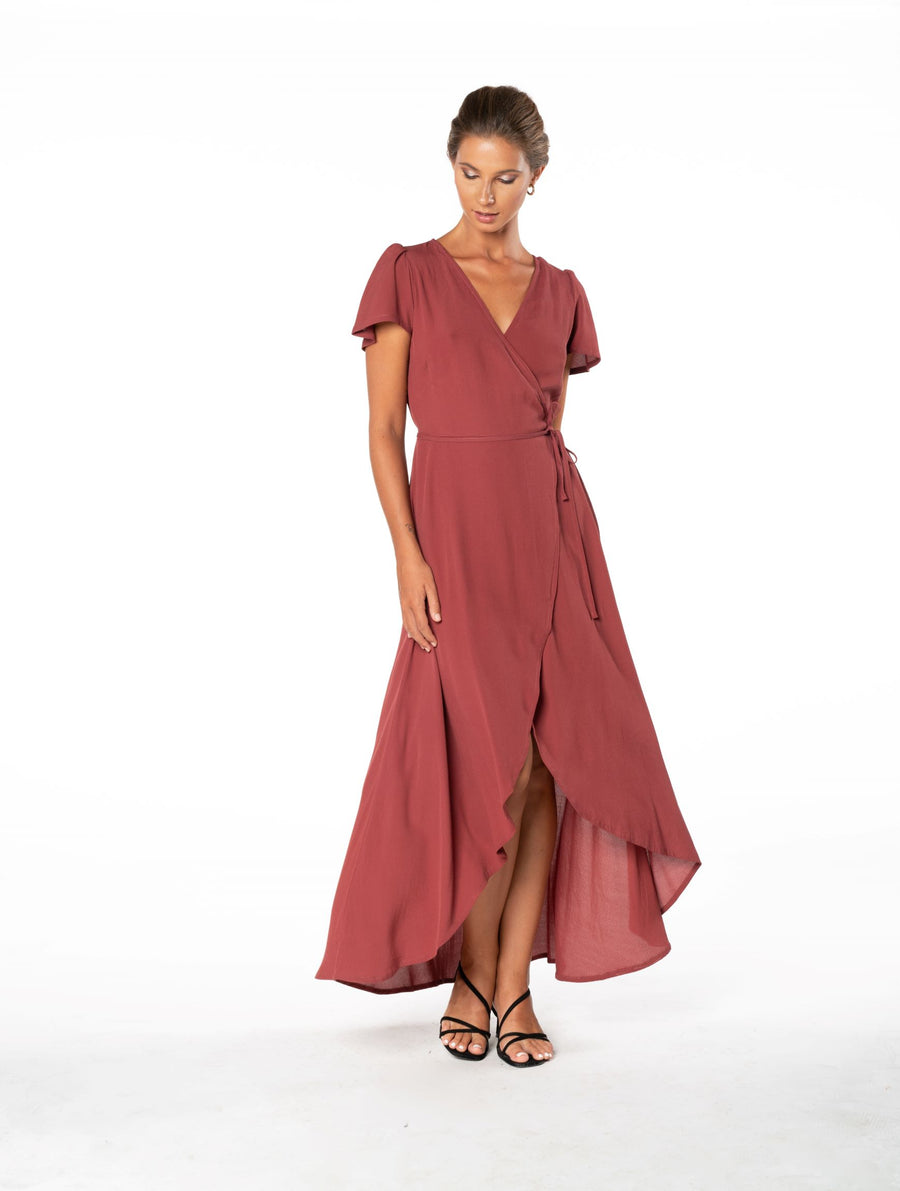 Sunset Wrap Dress - Dusky Plum