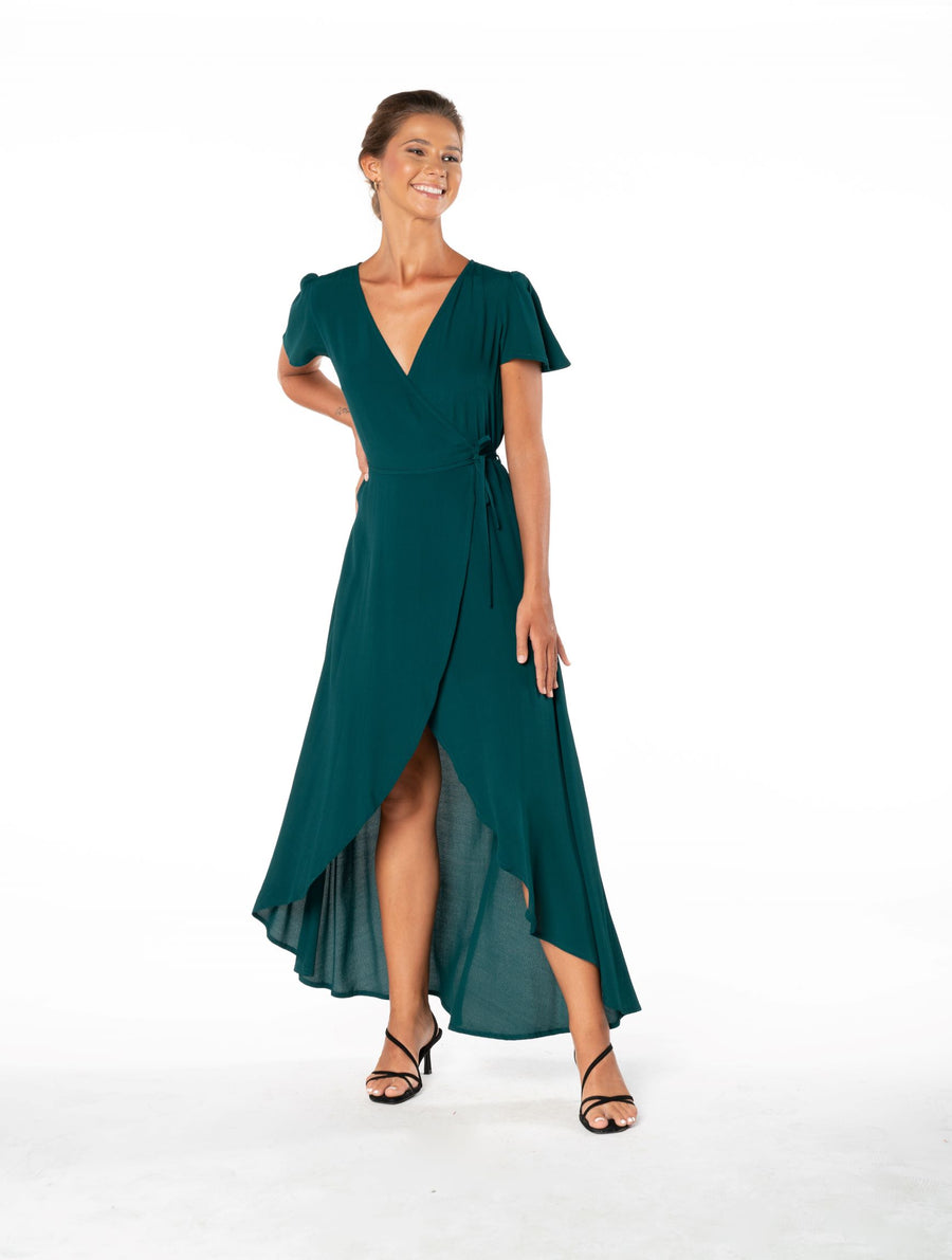 Sunset Wrap Dress - Emerald Green