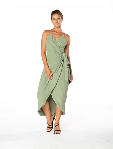 Blaze Of Passion Dress - Sage Craft Green