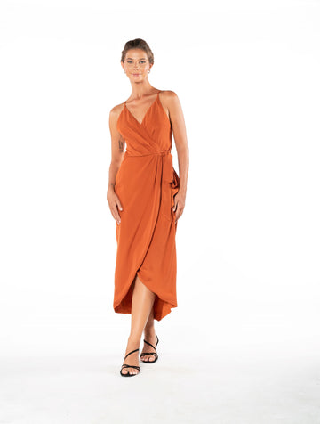 Blaze Of Passion Dress - Burnt Orange