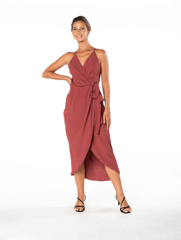 Blaze Of Passion Dress - Dusky Plum
