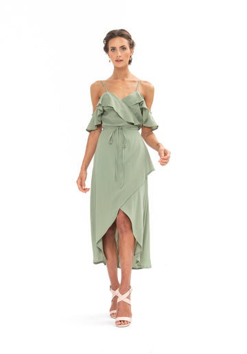 Money Never Lies Dress - Sage Craft Green