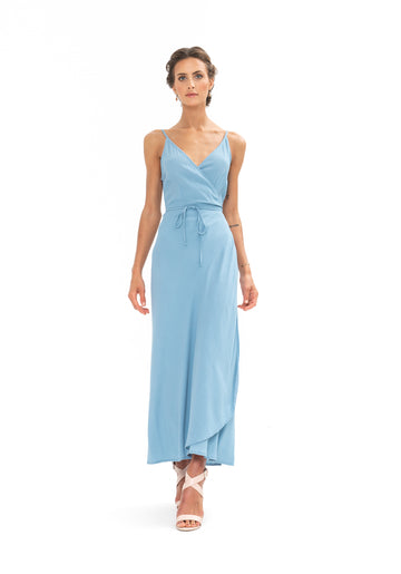Global Wrap Dress - Blue Floyd