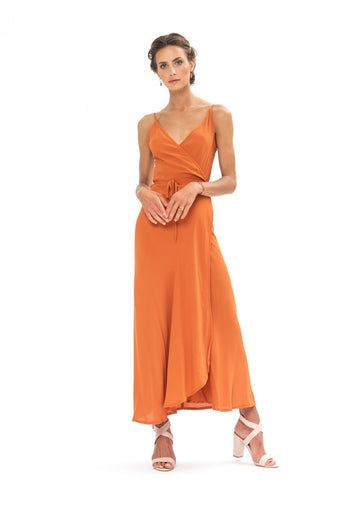 Global Wrap Dress - Burnt Orange