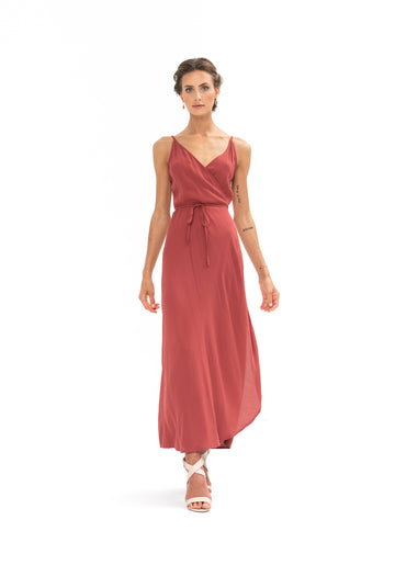Global Wrap Dress - Dusky Plum