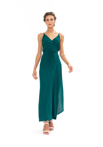 Global Wrap Dress - Emerald Green