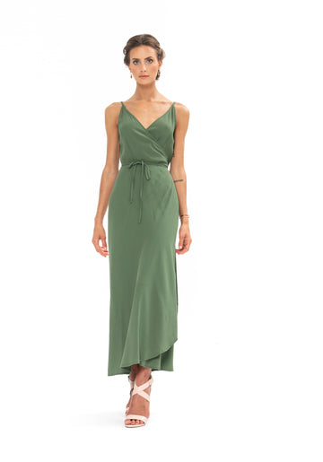 Global Wrap Dress - Olive Green