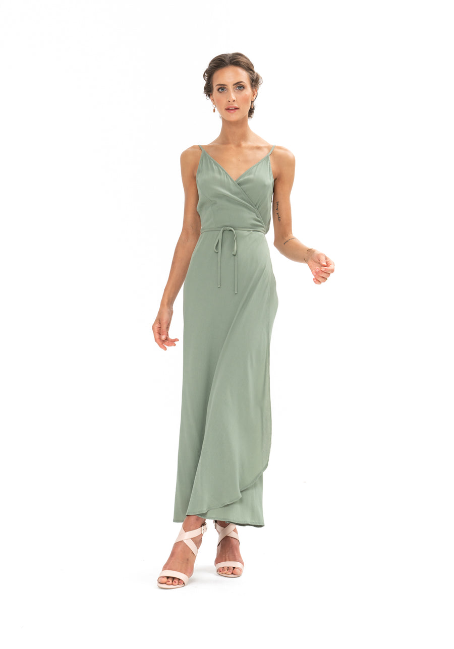 Global Wrap Dress - Sage Craft Green