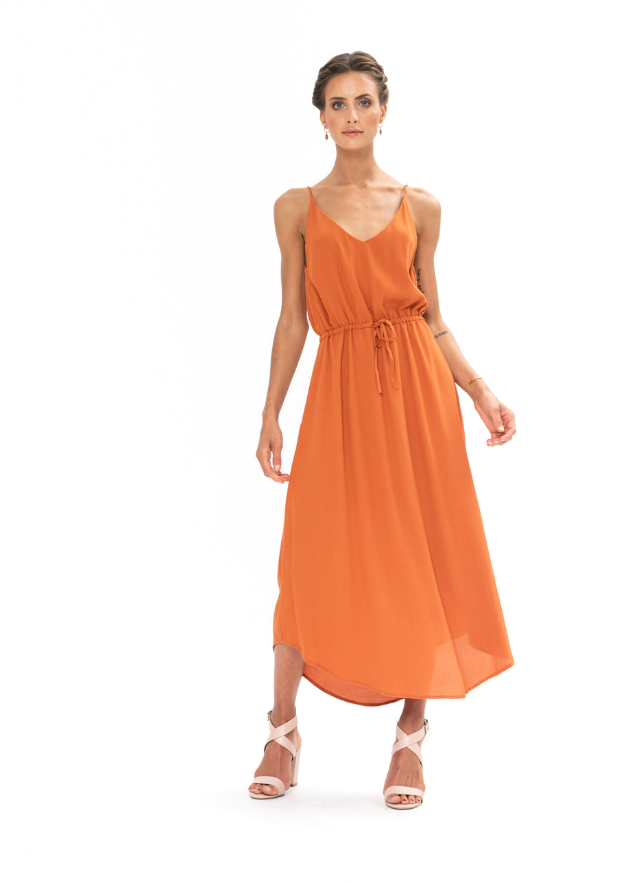 Drawstring Dress - Burnt Orange