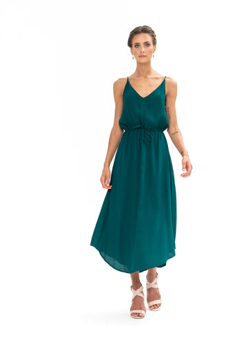 Drawstring Dress - Emerald Green