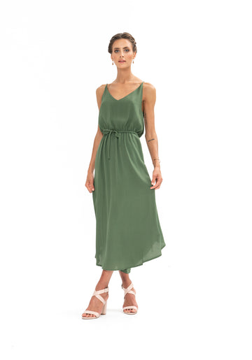 Drawstring Dress - Olive Green
