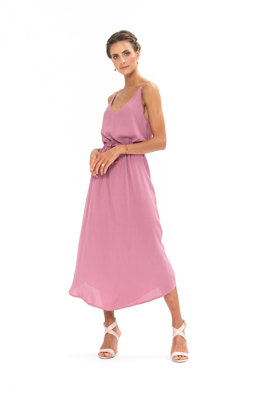 Drawstring Dress - Purple Blush
