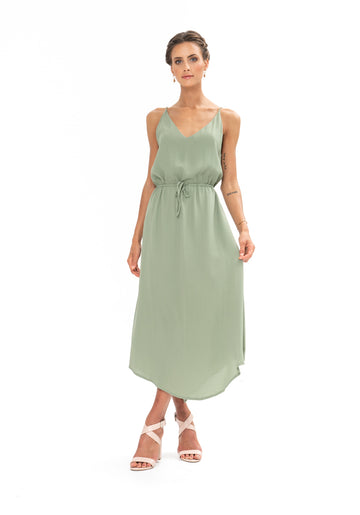 Drawstring Dress - Sage Craft Green