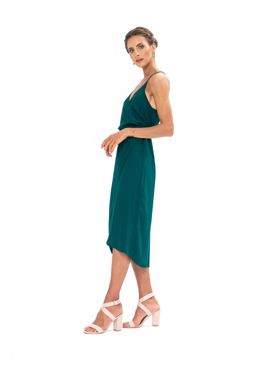 Friday Wrap Dress - Emerald Green