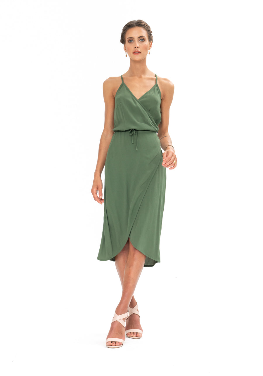 Friday Wrap Dress - Olive Green