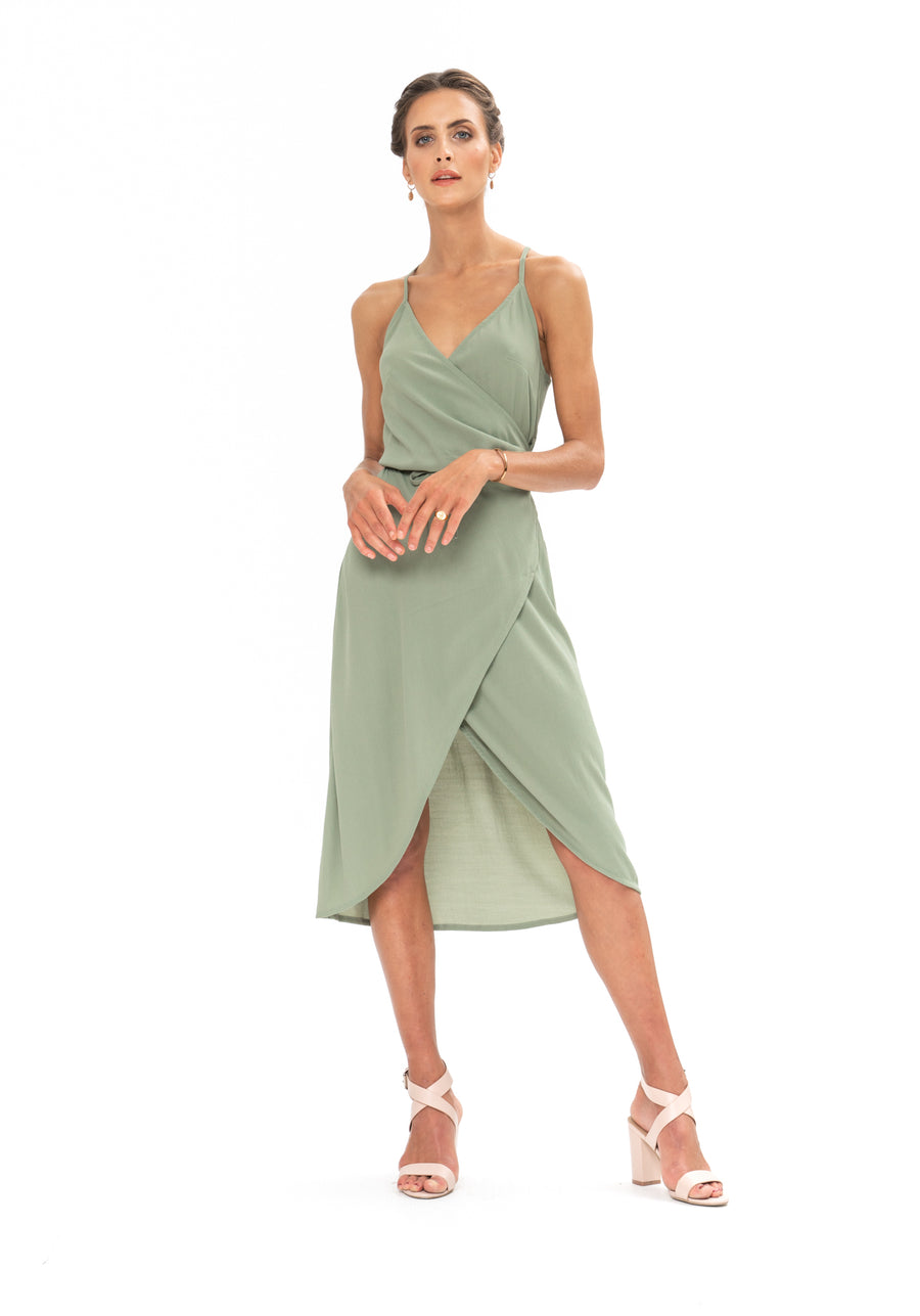 Friday Wrap Dress - Sage Craft Green