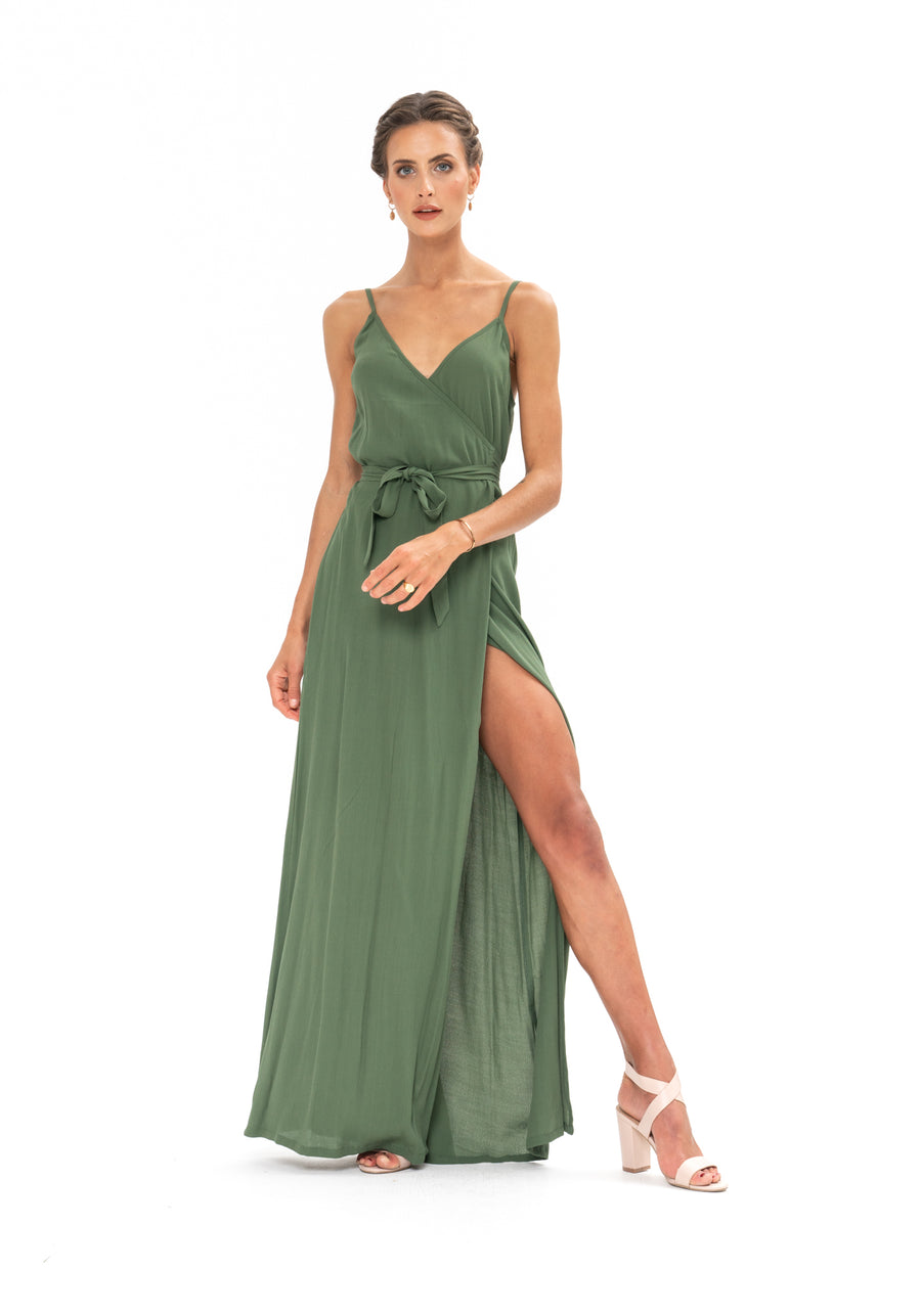 Signature Wrap Dress - Olive Green