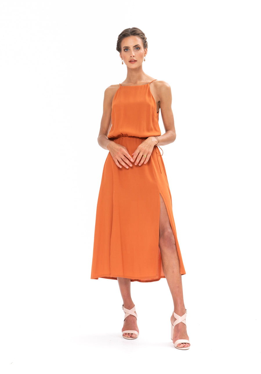 Slasher Dress - Burnt Orange