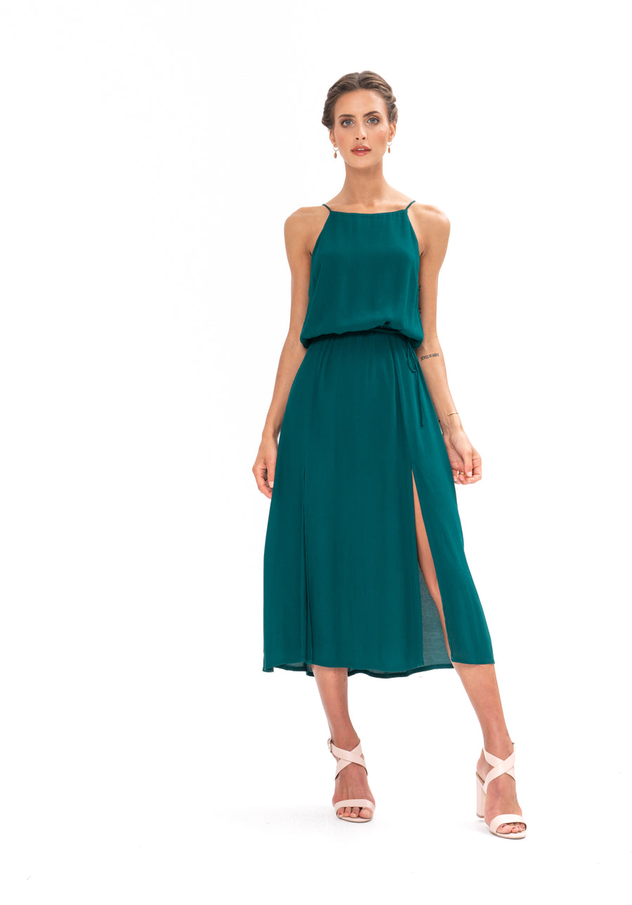 Slasher Dress - Emerald Green