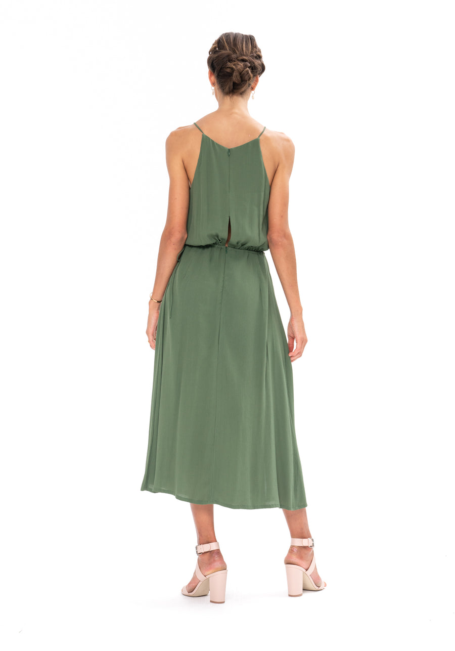 Slasher Dress - Olive Green