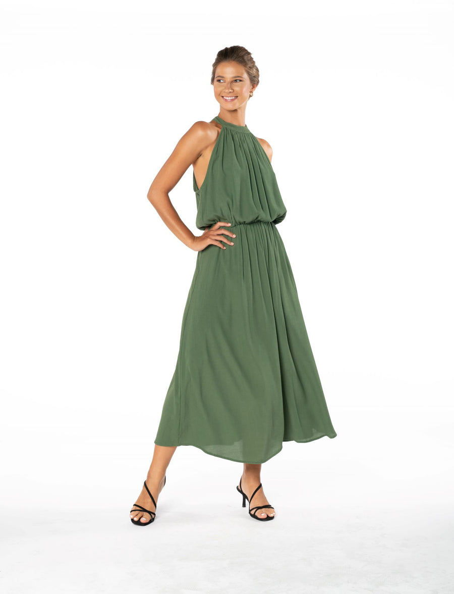 Last Kiss Dress - Olive Green