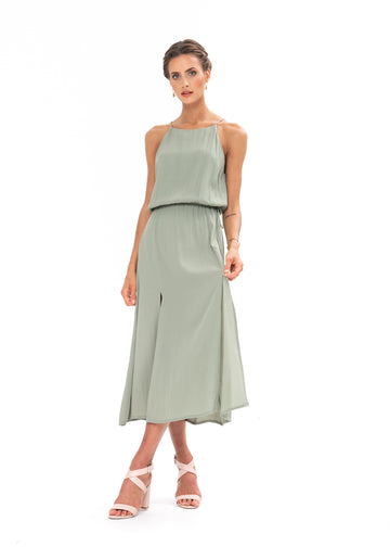 Slasher Dress- Sage Craft Green