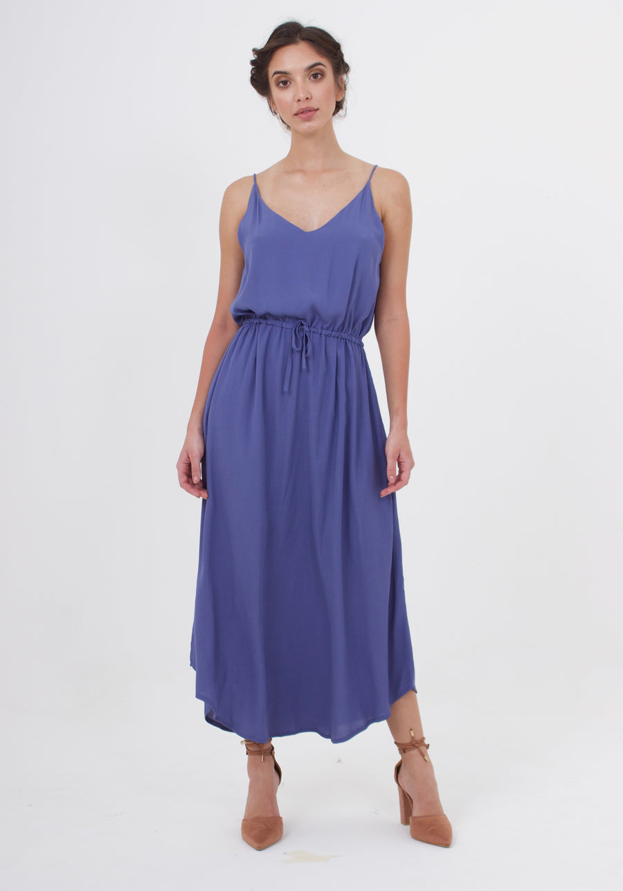 Drawstring Dress - Steel Blue