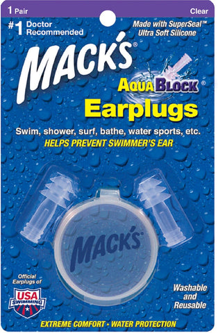 Mack's AquaBlock Earplugs Clear   1  Pair